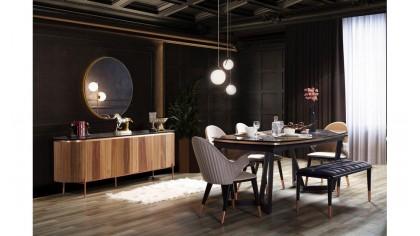 inegöl mobilya Tesla Ceviz Yemek Odası Takımı